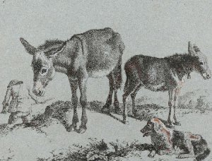 By Londonio, Francesco - Female donkey with her foal, a dog and a peasant man