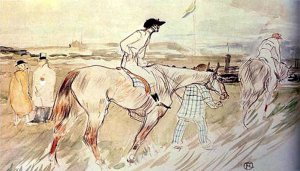 By Toulouse-Lautrec - Two jockeys towards the racetrack