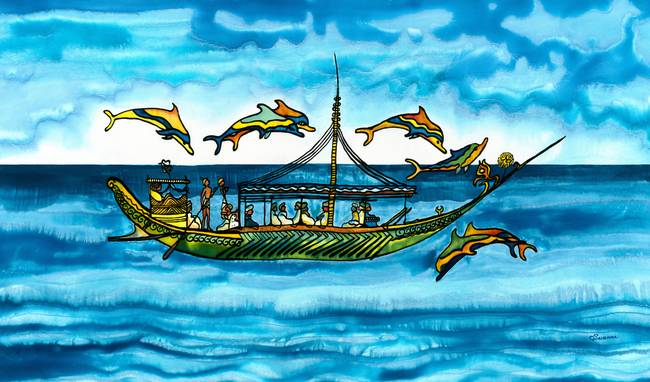 Dolphins-and-Greek-Merchant-Boat-Painting